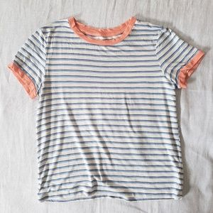 Aerie | Striped Short-Sleeve Boat Neck Baby Tee